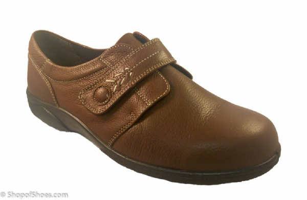 Healey Ladies chestnut brown leather wide fit Orthotic Shoe 4E